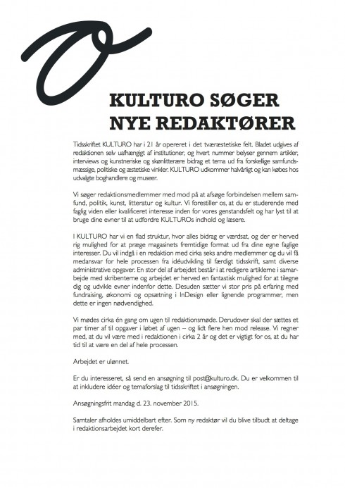 KULTURO søger nye redaktører