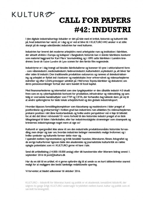 Call for papers Kulturo 42 industri